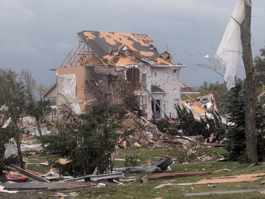 A photo of the destruction after the storm.