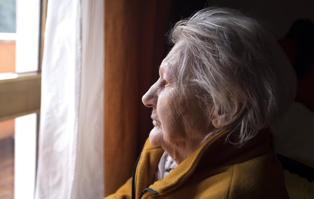 A women sitting in a chair looking out a window.