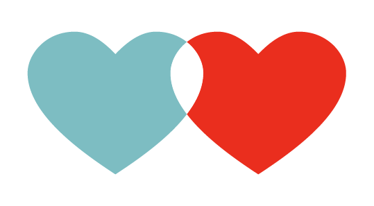 An image of a blue and red heart overlapping in the center.